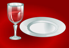 Wine glass with plate Royalty Free Stock Image