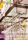 Wine glass on rack Royalty Free Stock Image