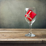 Wine glass with red gift box Stock Photo