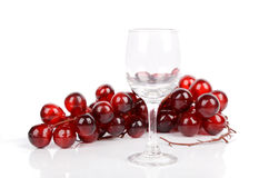 Wine glass and red grape Royalty Free Stock Images
