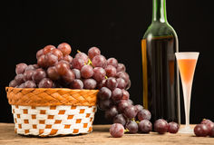 Wine glass and red grape Royalty Free Stock Photography