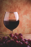 Wine glass and red grapes Stock Photography