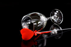 Wine glass with red heart Royalty Free Stock Image