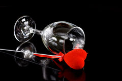 Wine glass with red heart Stock Photos