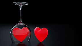 Wine Glass with Red Hearts on Valentine's Day. Design made in 3D Vector Illustration