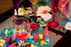 Wine Glass, Red and Purple Champagne Glasses Confetti Celebratio Royalty Free Stock Image