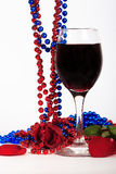 Wine glass with red rose Royalty Free Stock Photography