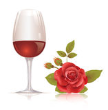 Wine glass and red rose Royalty Free Stock Image
