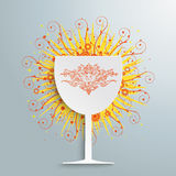 Wine Glass Retro Swirls Stock Images