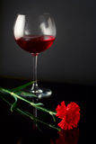 Wine glass and a rose royalty free stock photo