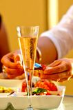 Wine glass and seafood. Chilled glass of wine with seafood Stock Photo