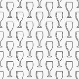 Wine glass seamless pattern. Wine glass seamless minimal vector pattern in thin line style Royalty Free Stock Photos