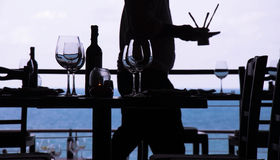 Wine glass and seaside restaurant. Nice restaurant and wine glass in Samui royalty free stock photography