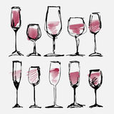 Wine glass set - collection sketched watercolor wineglasses and silhouette Stock Photography