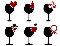 Wine glass set with grape, heart and drop Stock Photos