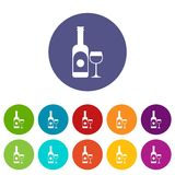 Wine and glass set icons. In different colors isolated on white background Stock Photography
