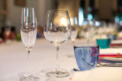 Wine glass set up on the table in luxury dinner party. Royalty Free Stock Photography