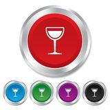 Wine glass sign icon. Alcohol drink symbol. Stock Photos