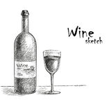 Wine and glass sketch Royalty Free Stock Photos