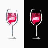 Wine glass social media concept background Royalty Free Stock Photography
