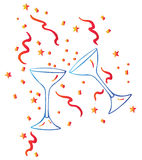Wine glass and stars Royalty Free Stock Photography