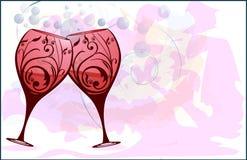 Wine glass stylized. Wine glass stylized with swirls Royalty Free Stock Photos