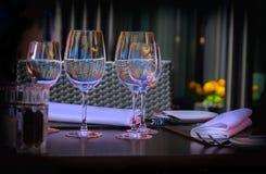 Wine glass, summer restaurant Stock Photo
