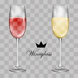 Wine glass. Transparent vector. Illustration Royalty Free Stock Photo