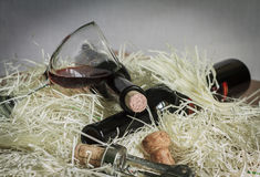 Wine glass and two bottle with corkscrew Stock Photo
