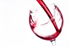 Wine in glass on white bacground. Wine in glass on white background stock photos