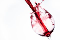 Wine in glass on white bacground. Wine in glass on white background stock photo