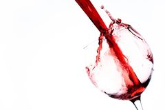 Wine in glass on white bacground. Wine in glass on white background royalty free stock photo