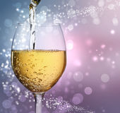 Wine Glass with White Wine Stock Photos