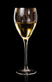 Wine, A glass of white wine. In dark background royalty free stock image