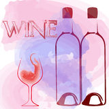 Wine Glass and wine bottle. Wine bottle and cup set/aperitif Stock Image