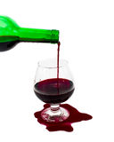 Wine in the glass, the wine spilled stock images