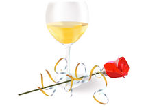Wine Glass With A Drink, One Red Rose Stock Photos