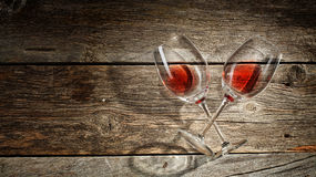 Wine glass on a wooden background Royalty Free Stock Photo