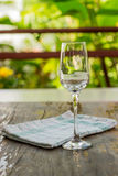 Wine glass. On a wooden table Royalty Free Stock Images