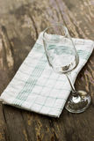 Wine glass. On a wooden table Stock Photos