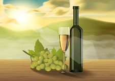 Wine glass on wooden table on the morning royalty free illustration