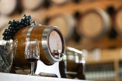 Wine glass. A glass of red wine in front of a wine barrel. Wine royalty free stock image