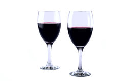 Wine Glasses. Set of two full wine glasses on white background Stock Photo