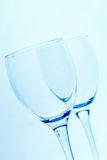 Wine glasses. Over blue background Stock Photos