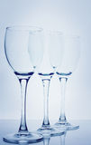Wine glasses. Over blue background Stock Image