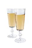 Wine glasses. A glasses of white wine isolated on the white background Stock Photos