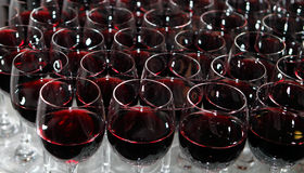 Wine glasses. On the table Stock Images