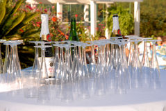 Wine and Glasses. Wine and wine glasses displayed for a wedding reception Royalty Free Stock Photography