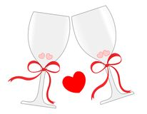 Wine glasses. Illustration of glasses with champagne with red hearts isolated on white background Stock Photo