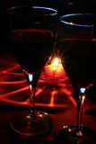 Wine glasses. Two Wine glasses and candle Royalty Free Stock Photography